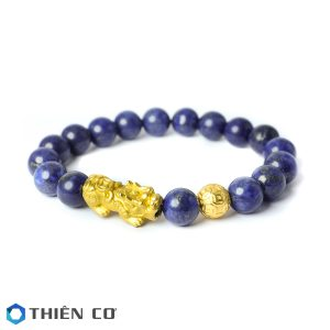 vong tay phong thuy da Lapis Lazuli charm Ty Huu, Tai Loc bac xi vang 8 ly