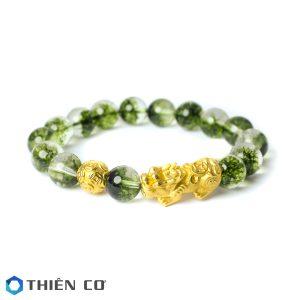 vong tay phong thuy da Uu Linh xanh charm Ty Huu, Tai Loc bac xi vang 10 ly