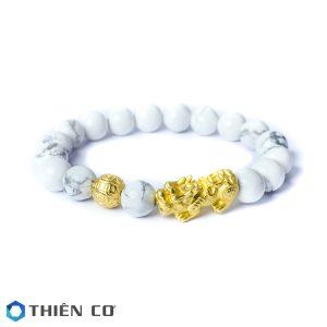 vong tay phong thuy da thach tung trang charm Ty Huu, Tai Loc bac xi vang 10 ly