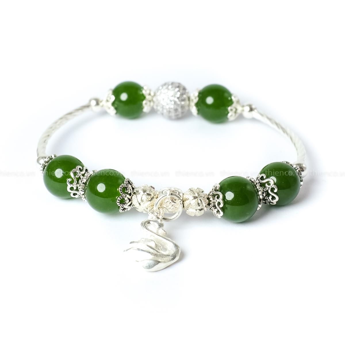 vòng tay phong thủy đá Canxedon xanh lá