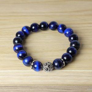 vòng tay phong thủy đá mắt hổ xanh biển mix charm họa tiết Rồng